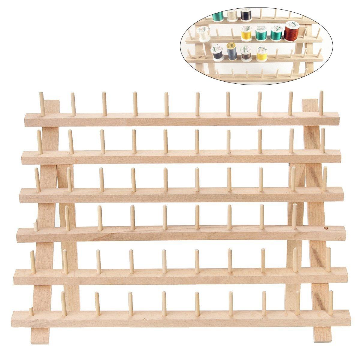 ROSENICE Supporto per bobine di fili da cucire in legno pieghevole e regalabile con 60 PEZZI