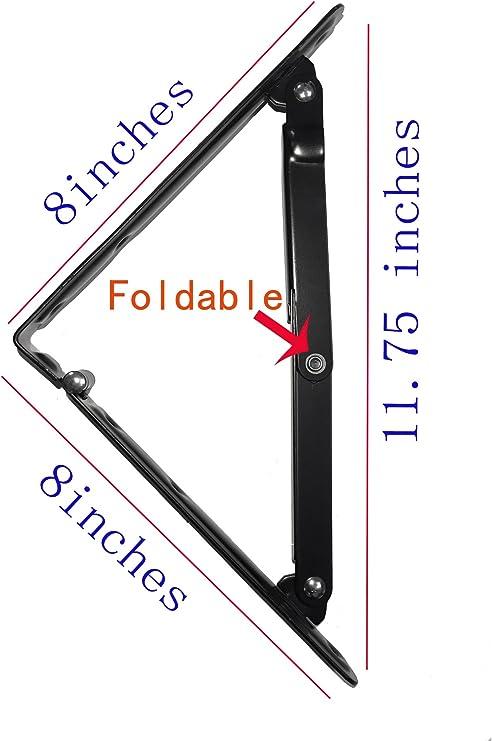 de acero inoxidable resistente soporte de mesa montaje en pared etc(2Pcs) silla soporte flotante para estanter/ía de libros soportes de estante plegables de 20cm soporte de estanter/ía