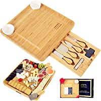 Cheese Board and Cutlery Set (Top Quality Elegant Packaging) Unique Bamboo Charcuterie Platter and Serving Tray for Wine…