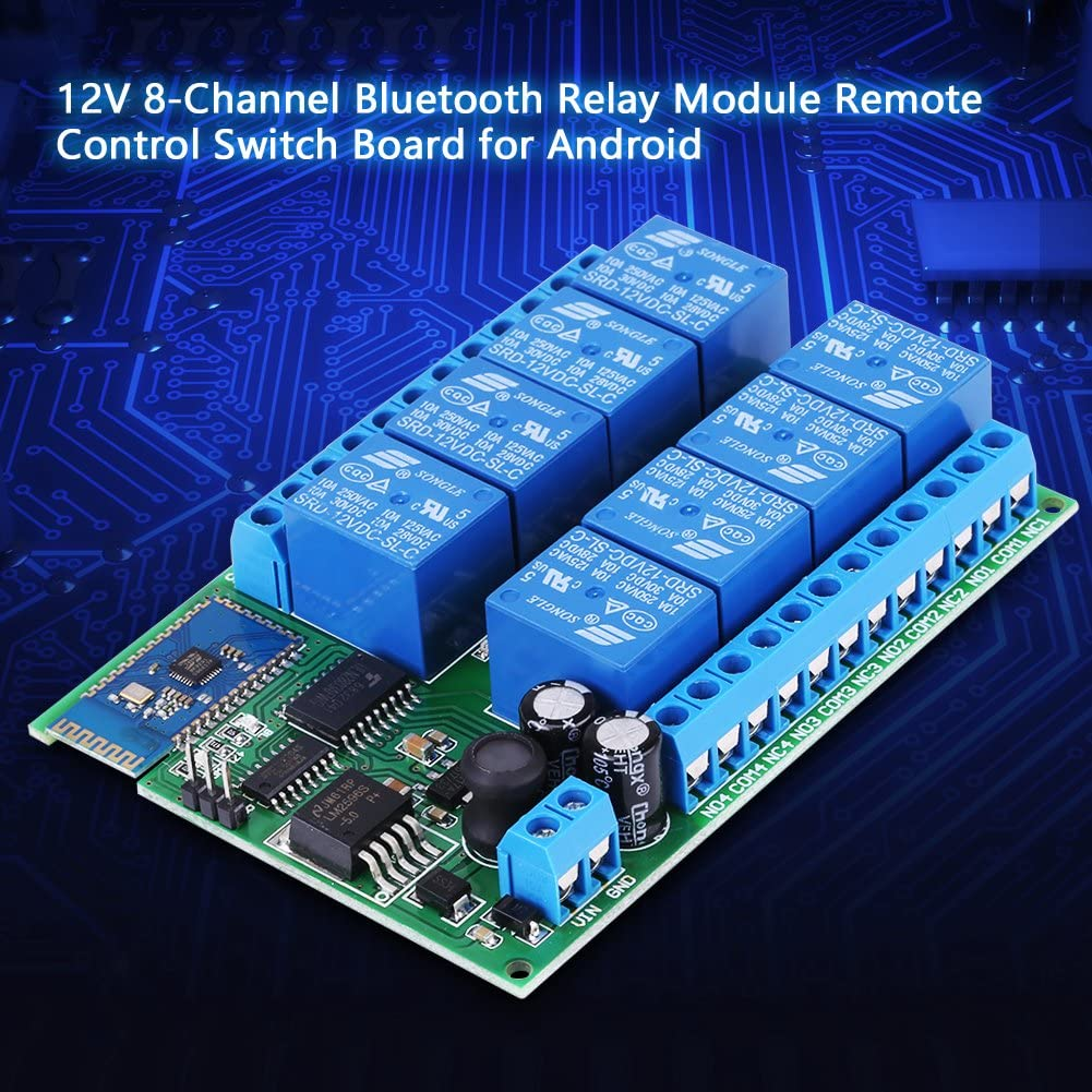 12V 8-Channel Bluetooth Relay Module Remote Control Switch Board for Androids Remote Control Switch Compatible with Androids 4.3 Smart Home Remote Control Switch