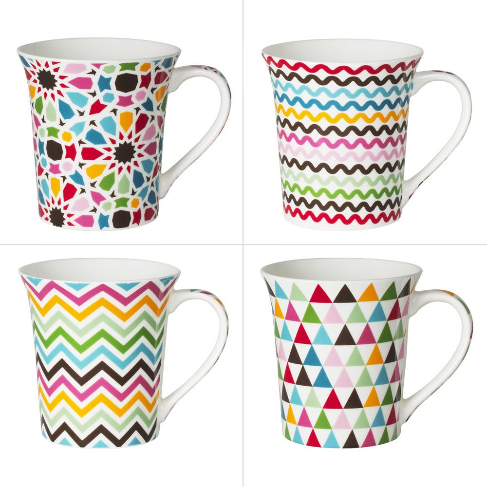 TREND'UP - Mug Mosaic 35 cl Décors assortis (lot de 4). TREND' UP