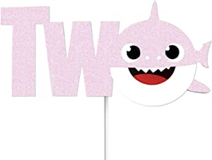 "OMG Party Factory - Cute Shark Baby Cake Topper 2nd Birthday""TWO"" For Girls - Cake Decoration and Party Supplies (Pink)"