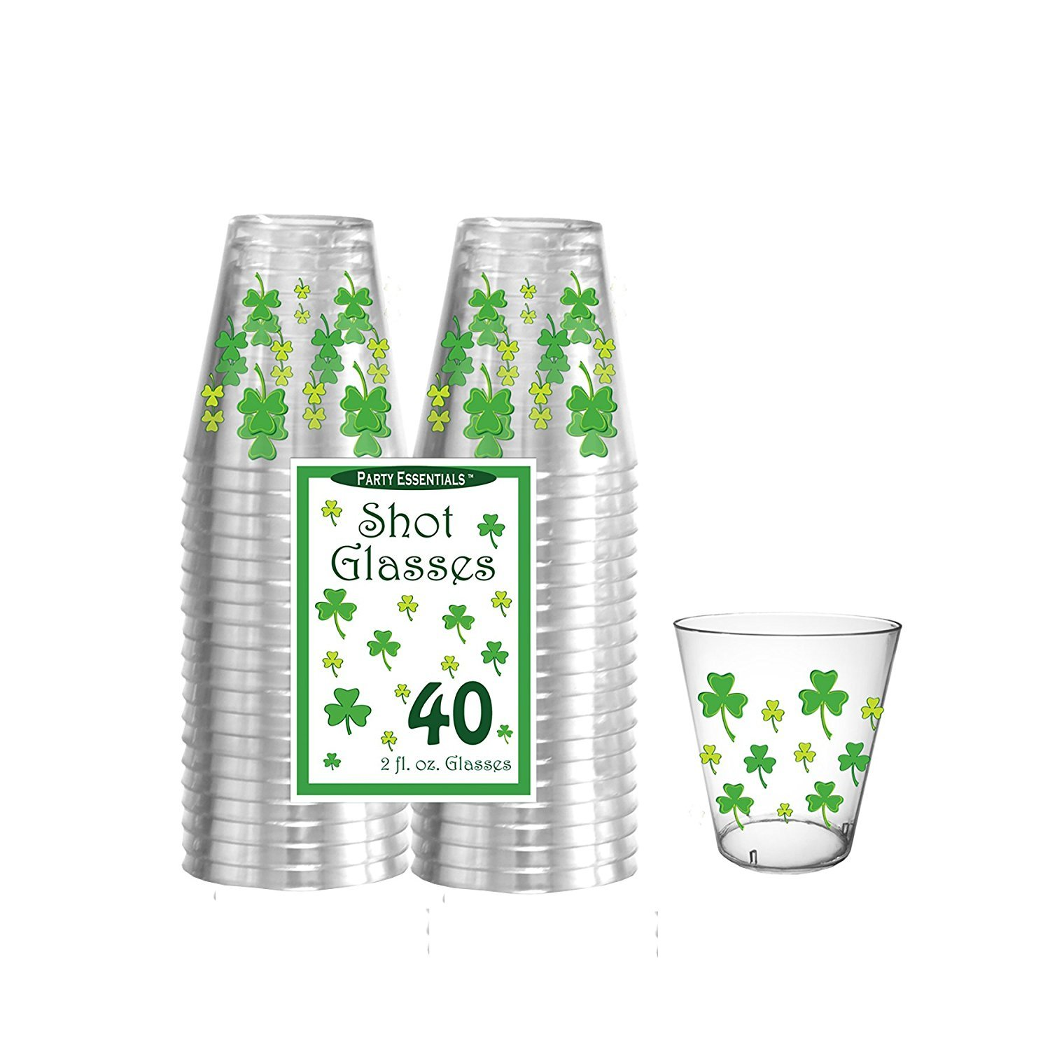 Party Essentials N24034 Shot Glasses, 2 oz, Clover Print, 6'' Height, 4'' Width, 2'' Length (Pack of 480) by Party Essentials