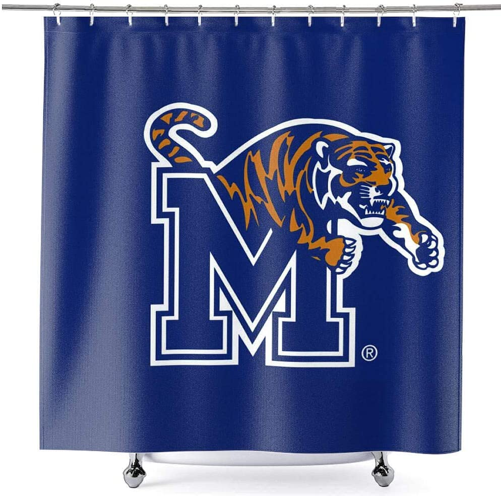 College Flags /& Banners Co Memphis Tigers Shower Curtain with Rod Hooks Soft Micro Fiber Polyester