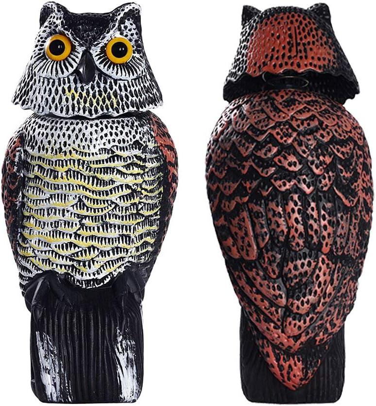 Frofine Búho con Cabeza Giratoria de 360 Grados Espantar Aves/Paloma/Gaviota/Cuervo Búho Realistas Búho Plástico Estatua del búho Búho de Jardín Búho Al Aire Libre Decoraciones Búho Patio Búho