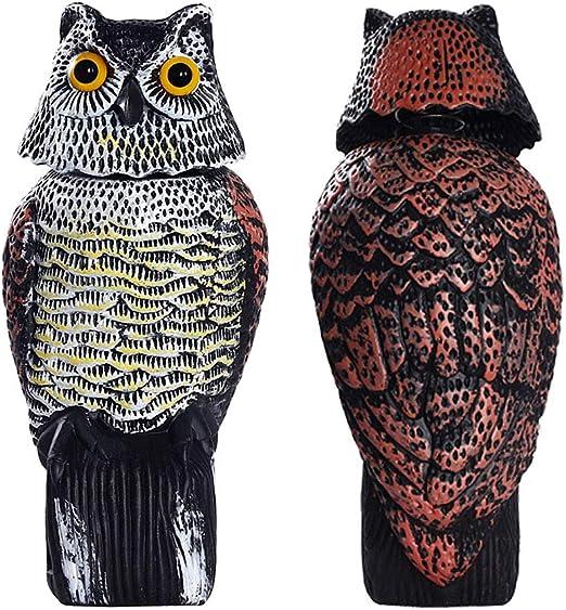 Frofine Búho con Cabeza Giratoria de 360 Grados Espantar Aves/Paloma/Gaviota/Cuervo Búho Realistas Búho Plástico Estatua del búho Búho de Jardín Búho Al Aire Libre Decoraciones Búho Patio Búho: Amazon.es: Jardín