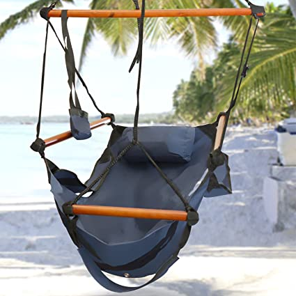 Best Choice Products Hammock Hanging Chair Air Deluxe Outdoor Chair Solid Wood 250lb Blue