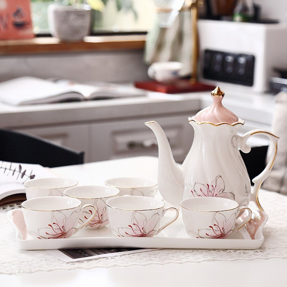 DHG Coffee Cup Set European-Style Afternoon Tea Tea Set Ceramic Flower Tea Cup Household Water Cup Set Simple Gift,A