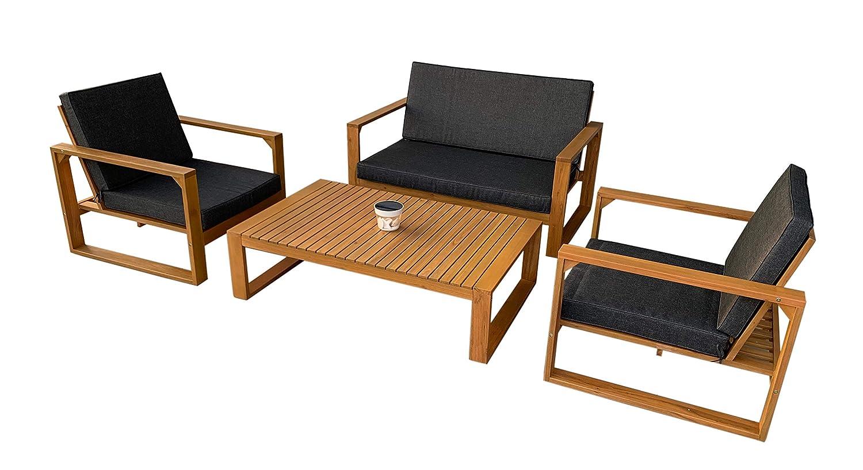 vanvilla Loungemöbel LUXAMBOUR Gartenmöbel Set Holz Sitzgruppe Garten Garnitur 1 Tisch 1 Bank 2 Sessel Sitzauflage Grau …