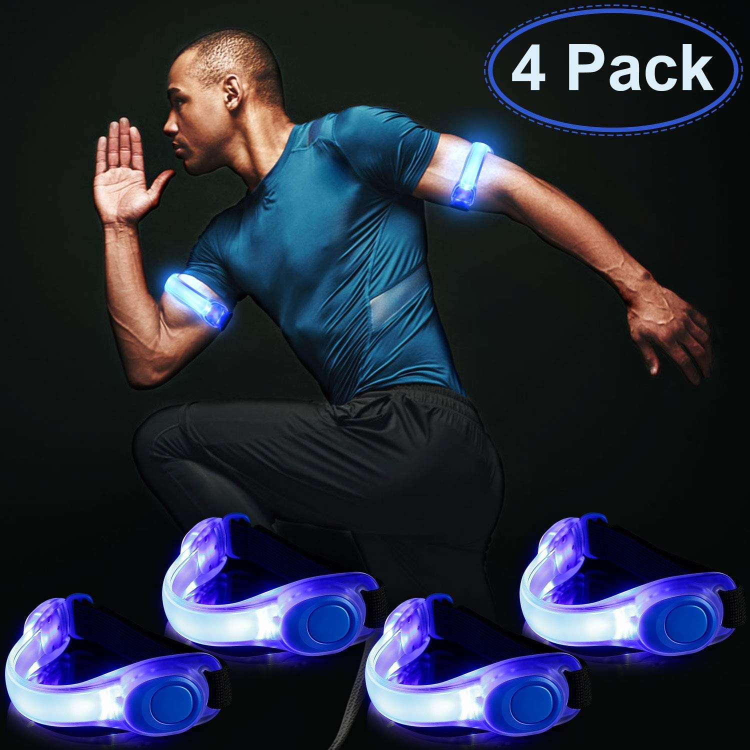 Blulu 4 Pack LED Armband Reflective Bracelets Light up Band Adjustable Silicone Wristbands Waterproof Glow Armband Night Safety Lights for Men and Women Running Jogging Cycling, 8 Batteries Included