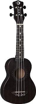 Luna Vintage Mahogany Soprano Ukulele (Black Satin)