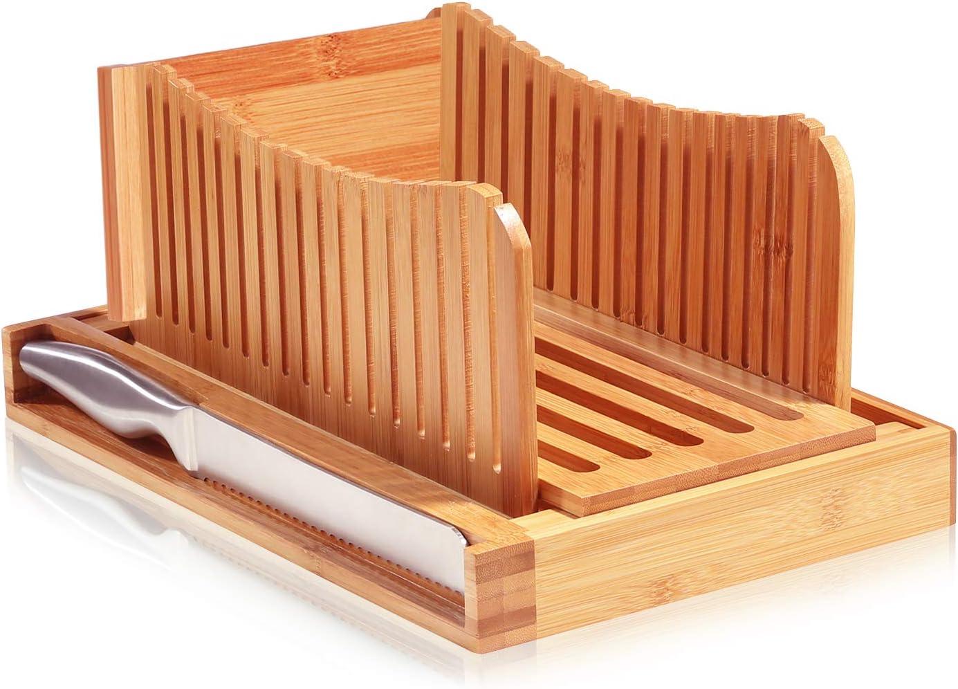 Trancheuse /à pain Vangonee en bambou pliable guide de tranches de pain pliable pour le petit d/éjeuner /à la maison