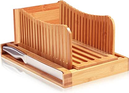 Bamboo Foldable Bread Slicer with Crumb Catcher Tray for Cutting Even Slices Every Time, Wooden Manual Bread Slicer Perfect for Homemade Breads and Loaf Cakes, Folds Flat for Easy Storage By: Bambusi