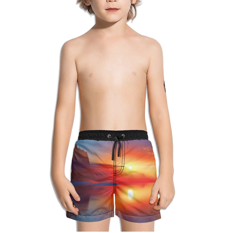 Ouxioaz Boys Swim Trunk Mars Sunset Water Beach Board Shorts