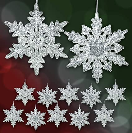 acrylic iridescent snowflake christmas ornaments set of 12 assorted styles of snowflakes clear acrylic - Snowflake Christmas Decorations
