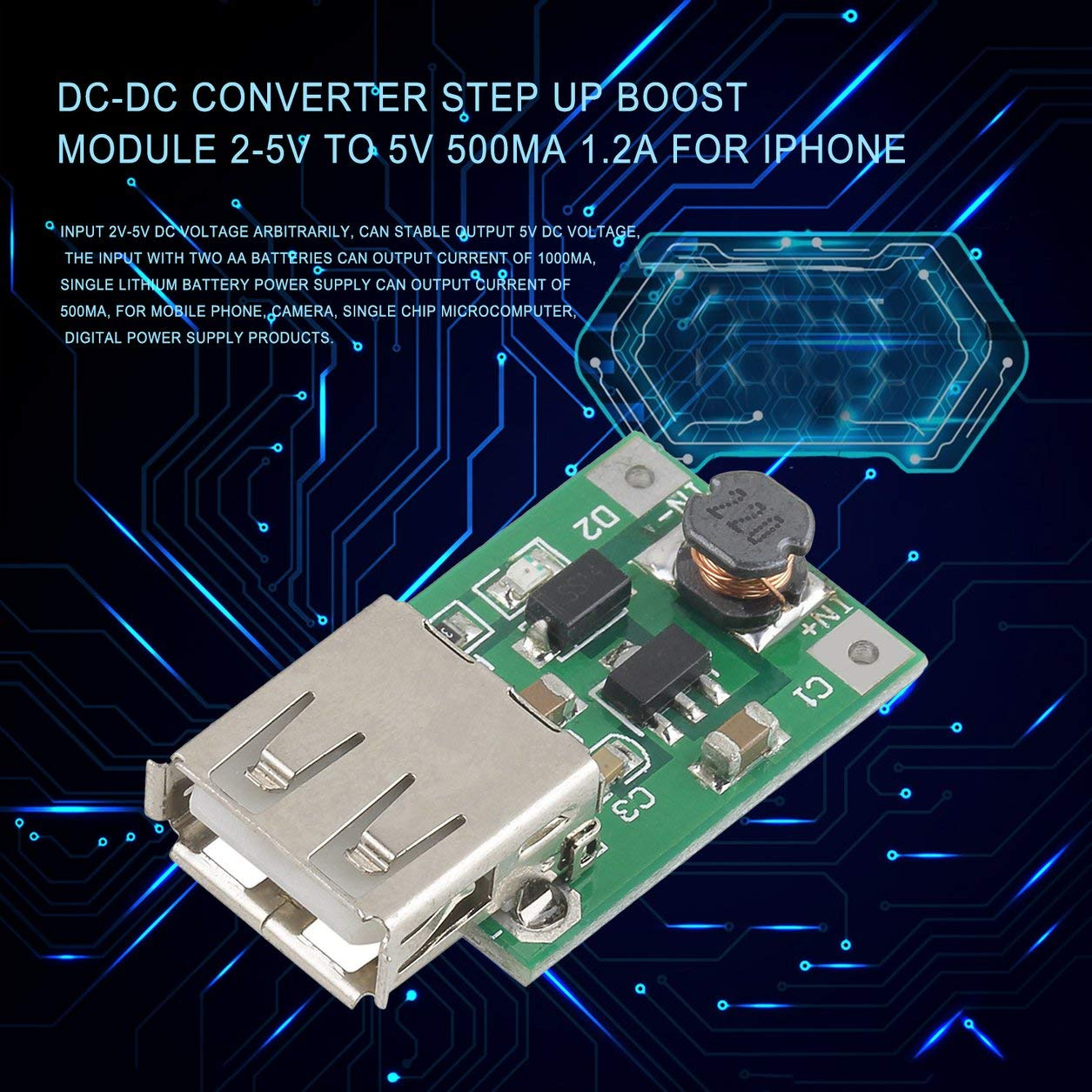 1pc DC-DC Converter Step Up Boost Module 2-5V to 5V 1200mA 1.2A for iphone Hotest Top Selling Super Deals
