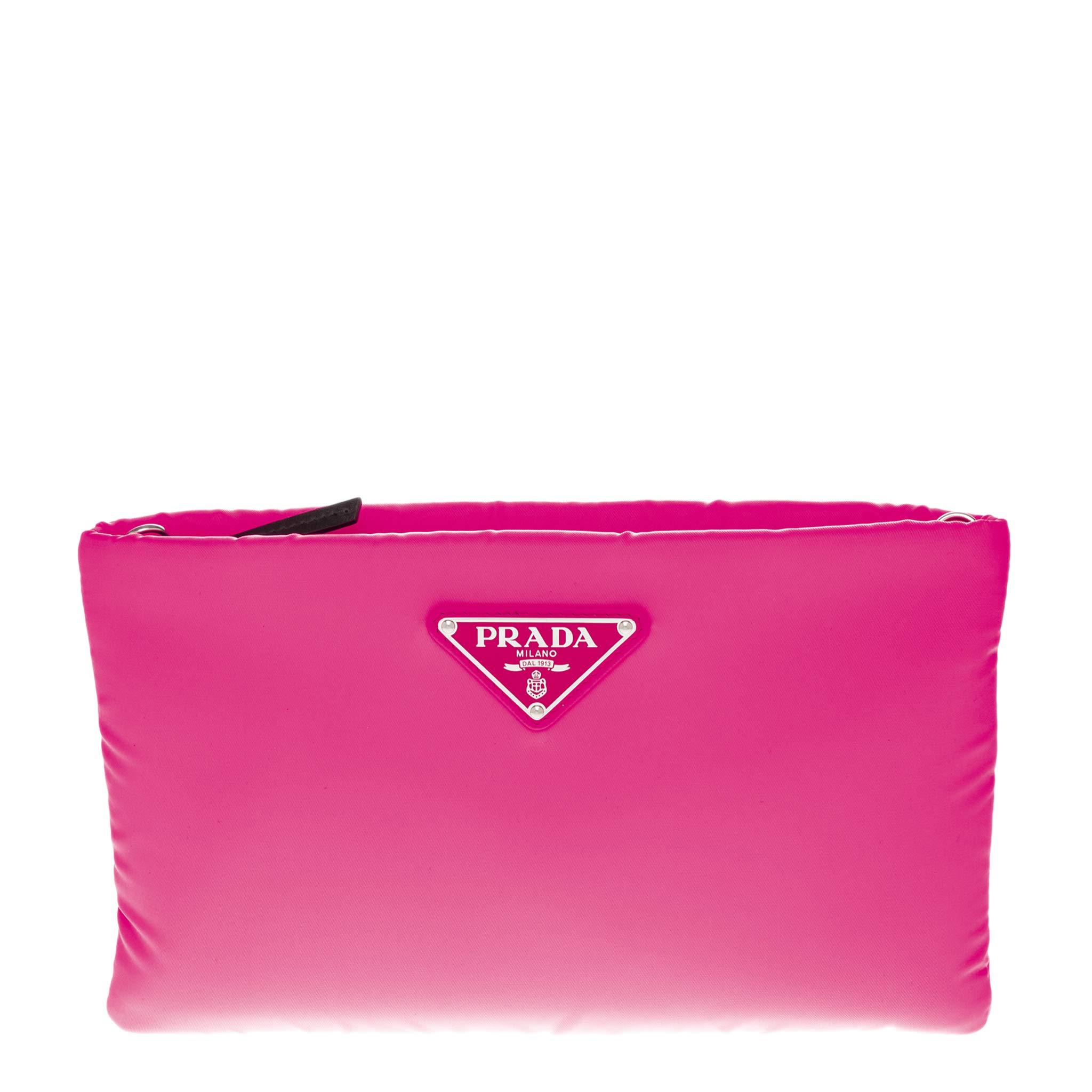 Prada Women's Small Padded Nylon Clutch Pink