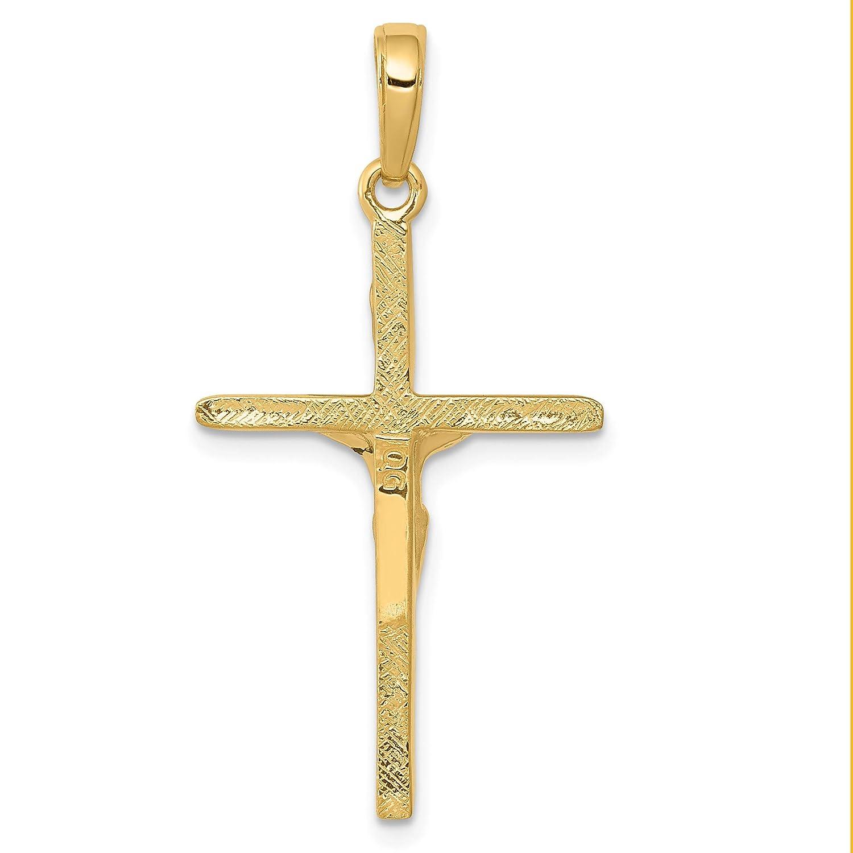 14k Yellow Gold INRI Latin Crucifix Pendant 34x19mm