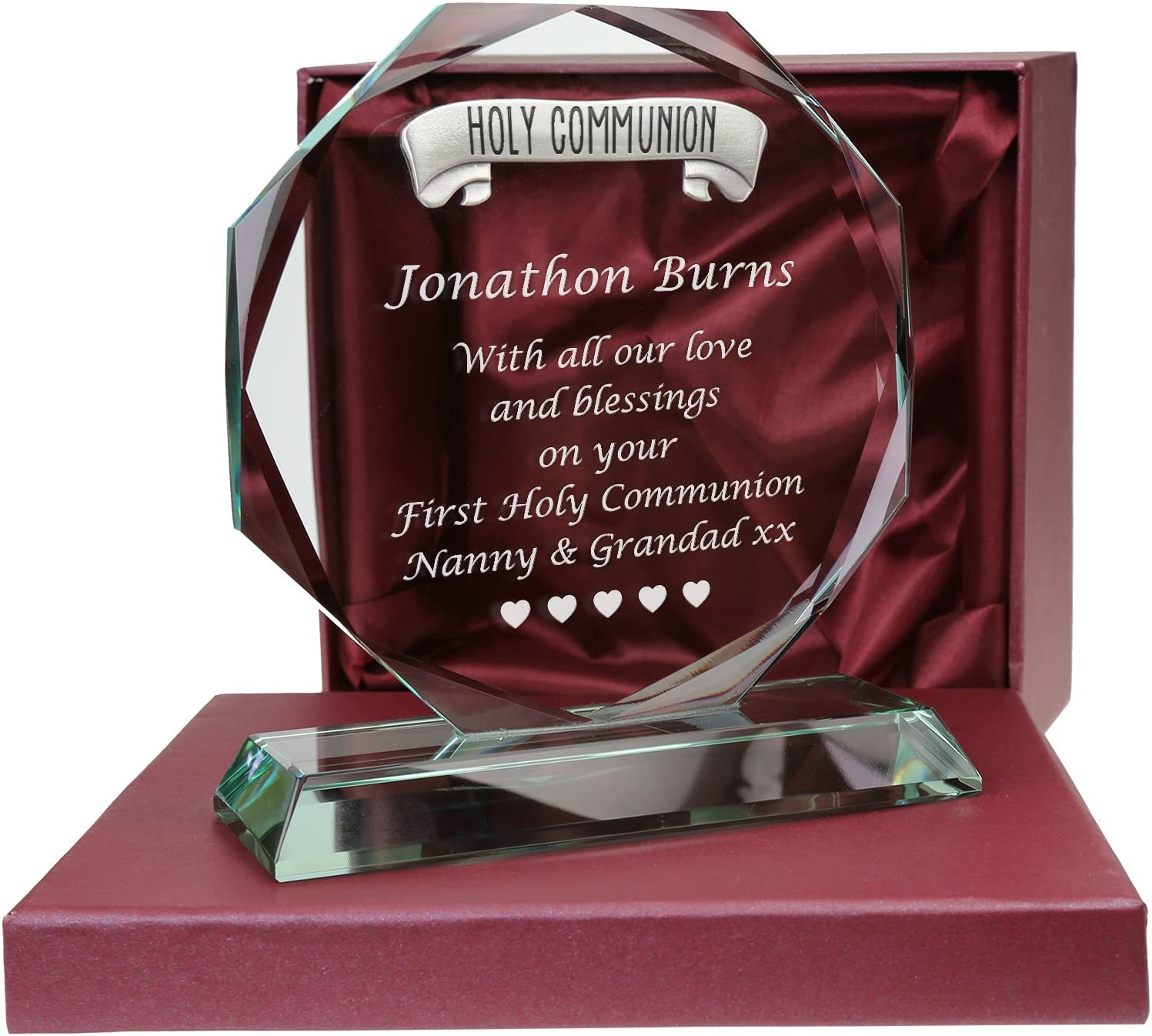 De Walden Boy S First Holy Communion Gifts Engraved Glass 1st Communion Gift Amazon Co Uk Kitchen Home
