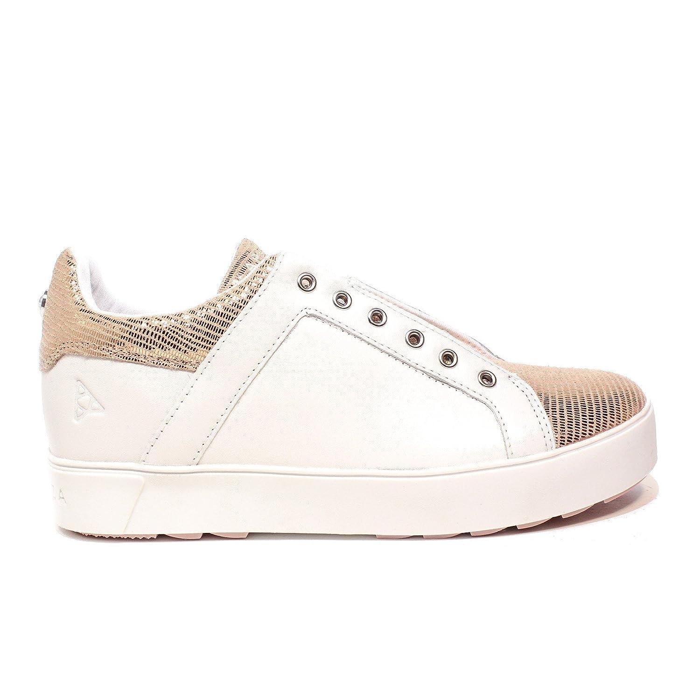 APEPAZZA Zapatos de Mujer Zapatillas de Deporte Bajas RSW05 Cuña Interna/Ternera Roxane Blanco/Rosa 37 EU|Blanco / Rosa