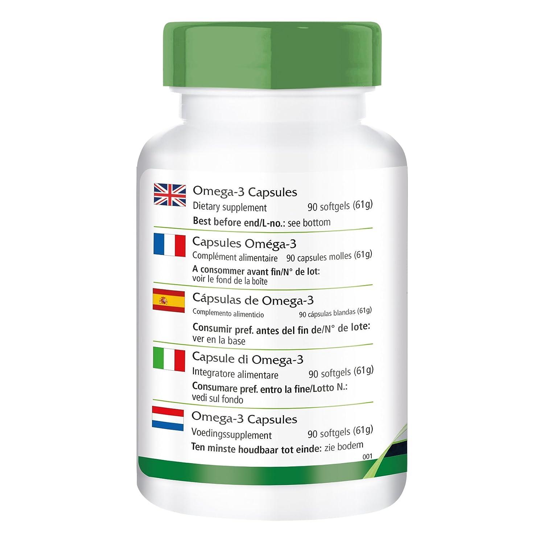 Omega-3 cápsulas de aceite de pescado 500 mg - 1 mes - ALTA DOSIS - 90 Softgels - con EPA y DHA: Amazon.es: Salud y cuidado personal