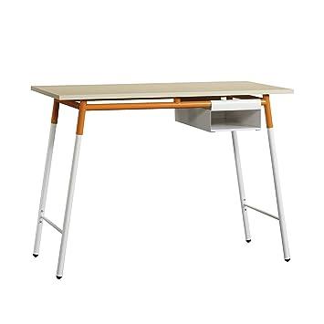 "Sauder 417738 Square 1 Desk, L: 41.50"" X W: 20.95"" X H: 30.00"", Maple/White/Orange by Sauder"