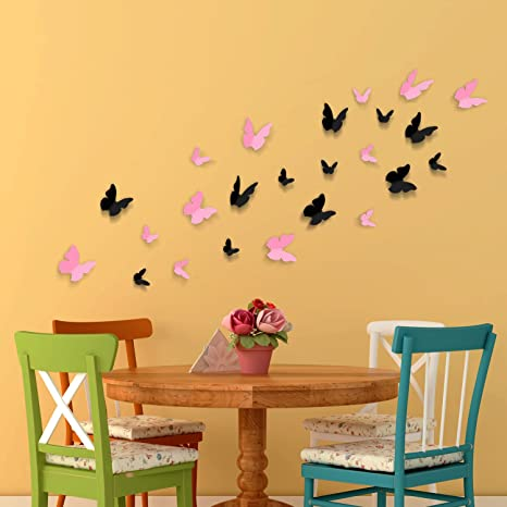 Amazon.com: Removable Self-Adhesive Wall Stickers 3D Butterflies ...