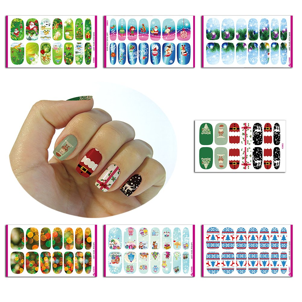 Christmas Nail Sticker,Nail Beauty Stickers Water-Slide, Christmas Nail Art Water Transfer Decals, Non-Toxic Temporary Nail Vinyls Stickers, 2017 Christmas Gift, Perfect Dress up for Nails, 7 sheets