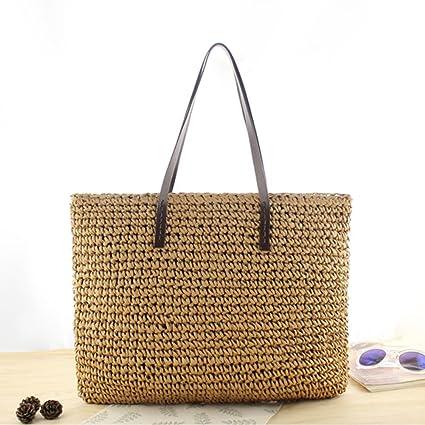 Bolsa ratán saco de cuadro – Bolsa de playa mujer paja bolsa de mano bolsa de playa de paja hecho a mano de moda casual viaje vacaciones ideal regalo ...