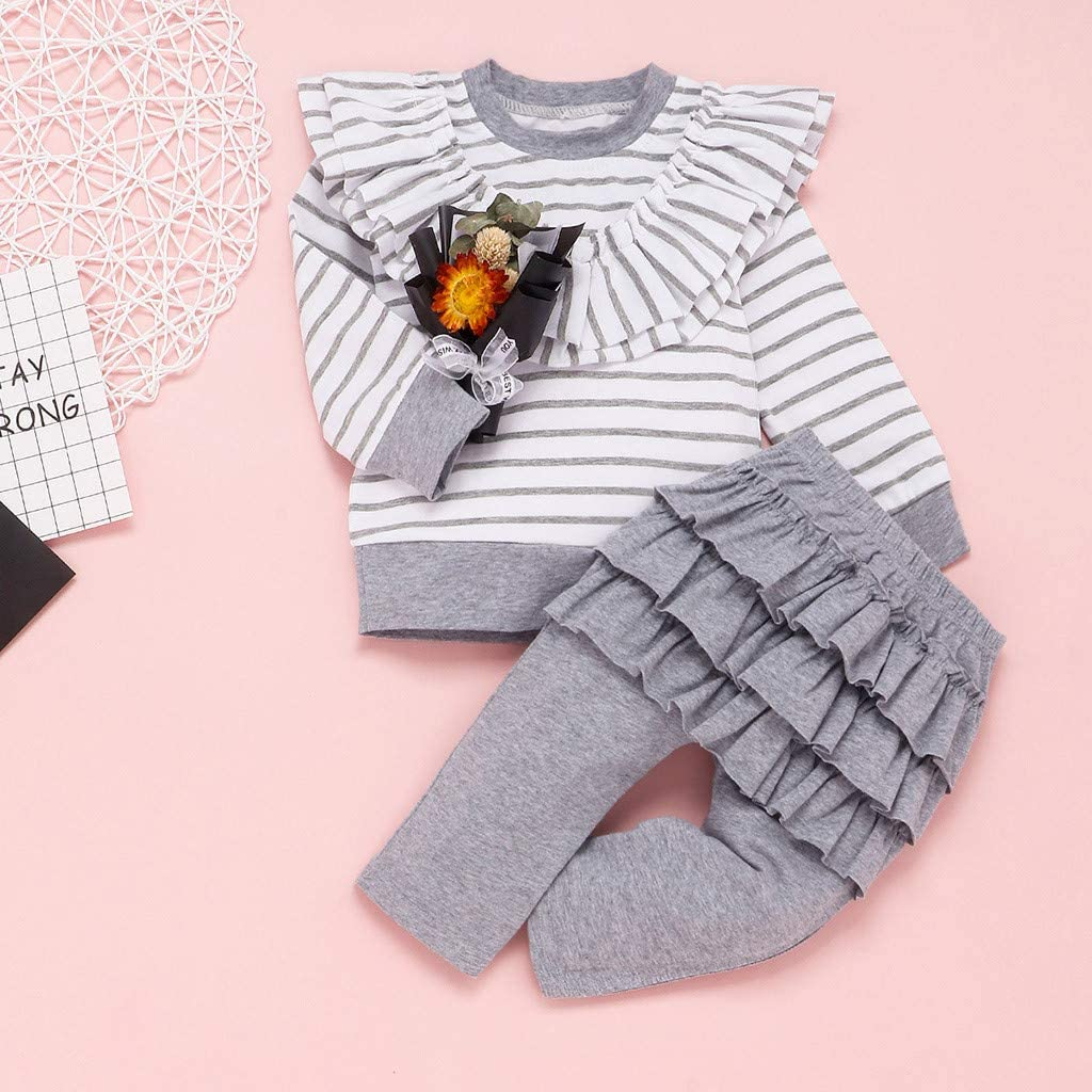 Iuhan 0-24Months Infant Baby Girl Ruffle Stripe T-Shirt Sweater Pants Outfits Clothes Set