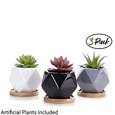 Succulent Planter Pots 3 inch Ceramic Mini Succulents Pot Geometric Design Glossy Black White Grey with Bamboo Tray Pack of 3 Artificial Succulent Plants Bonus: Garden & Outdoor