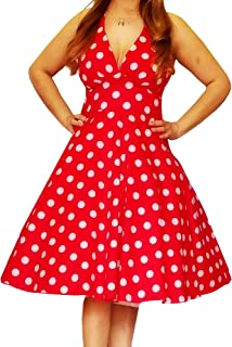 product image for Funfash Plus Size Women White Dot Red Rockabilly Halter A Line Dress Made in USA