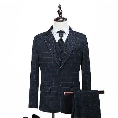 Amazon.com: WILAZB - Traje para hombre con 3 piezas de traje ...
