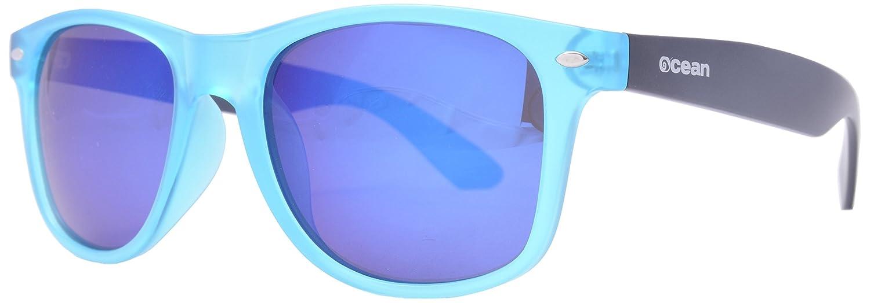 Ocean Sunglasses Beach Wayfarer - Gafas de Sol polarizadas - Montura : Azul Claro/Marrón Mate - Lentes : Azul Espejo (18202.34)
