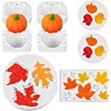 8 Pieces Pumpkin Maple Leaves Fondant Mold Fall Thanksgiving Theme Silicone Mold Mini 3D Pumpkin Maple Leaves Mold for…