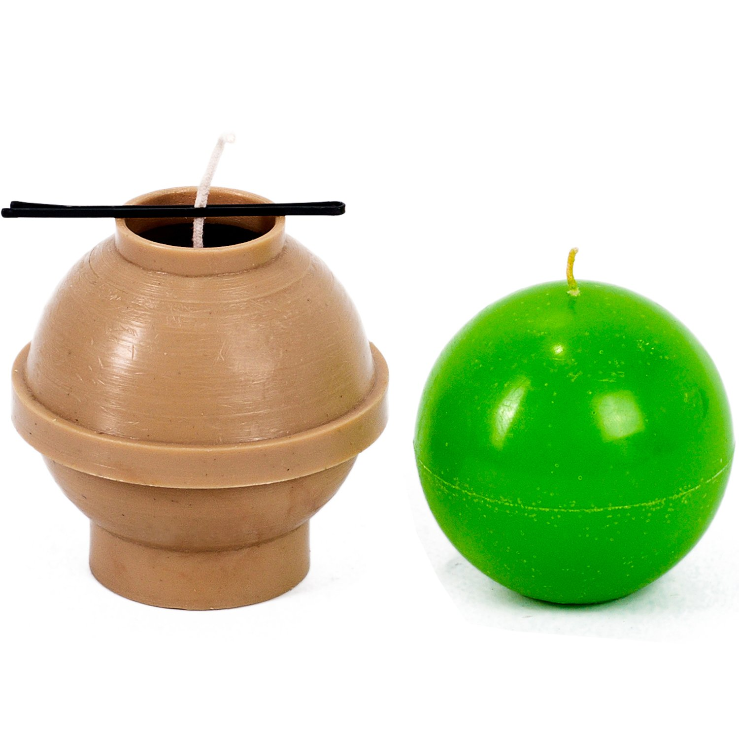 Ball diameter: 4.7 in - Sphere - 30 ft. of wick included as a gift - Plastic candle molds for making candles Candle Shop