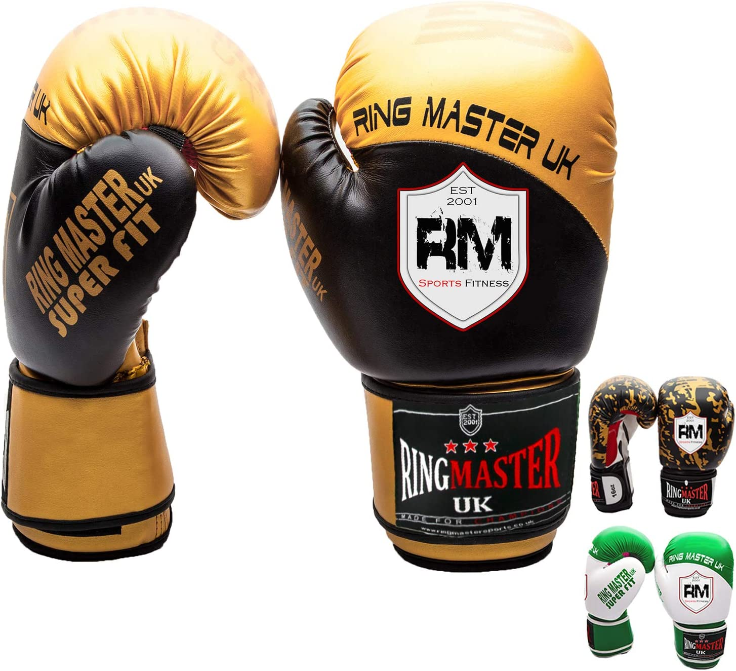 REEBOK BOXING GLOVES Black Gold Combat Punch Sparring Boxing Gloves 12oz 16oz