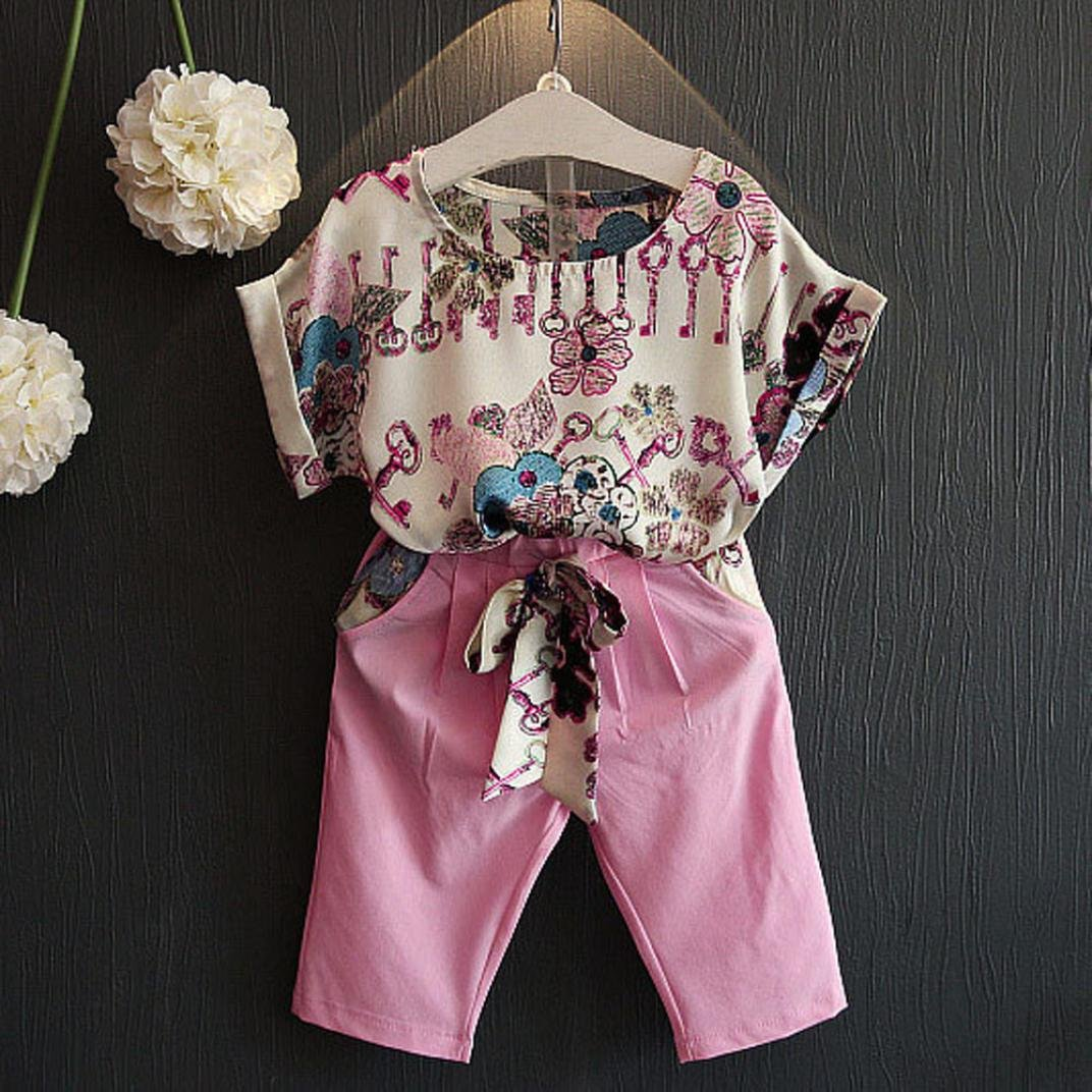 Pants Girls Cute 2PCS T-Shirt Short Sleeve Outfits Clothing Franterd Baby Set