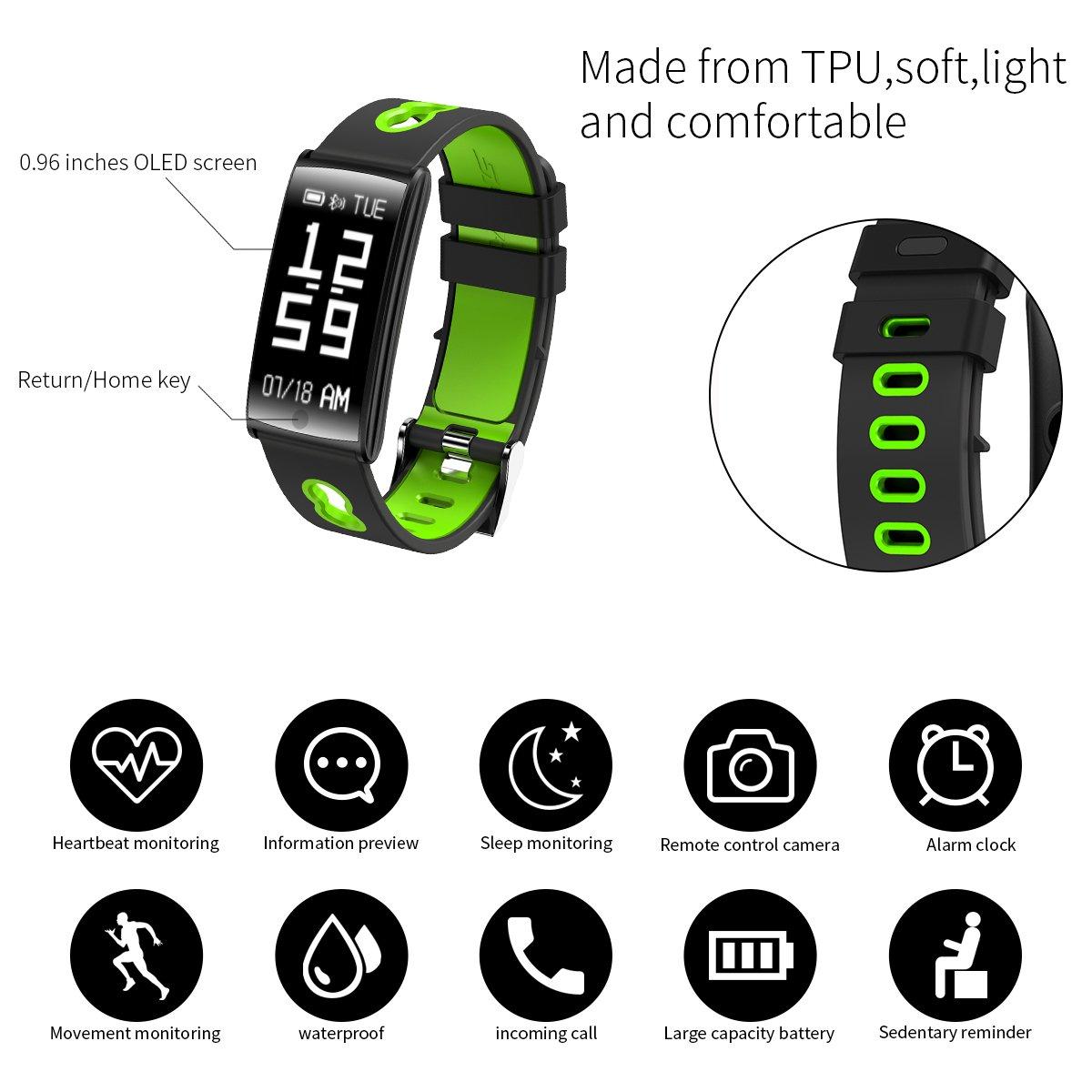 Pulsera inteligente para rastreador deportivo, impermeable según IP67 con supervisión de frecuencia cardíaca y tensión arterial, rastreador de pasos, ...