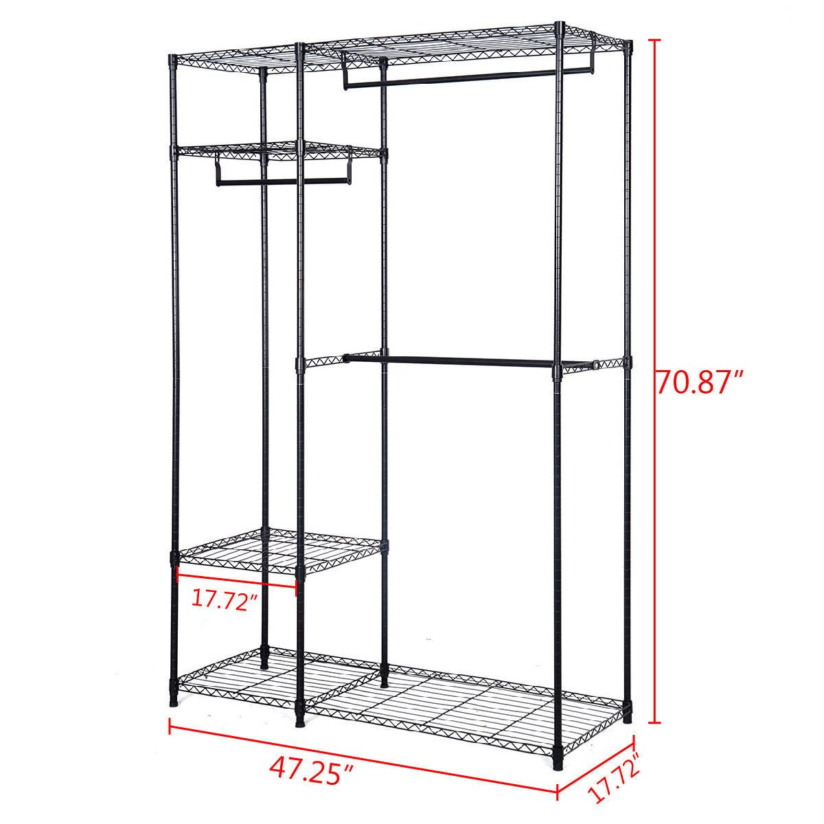 48 inch x18 inch x71 inch Closet Organizer Garment Rack Portable Clothes Hanger Home Shelf Brand New And Large Storage Capacity