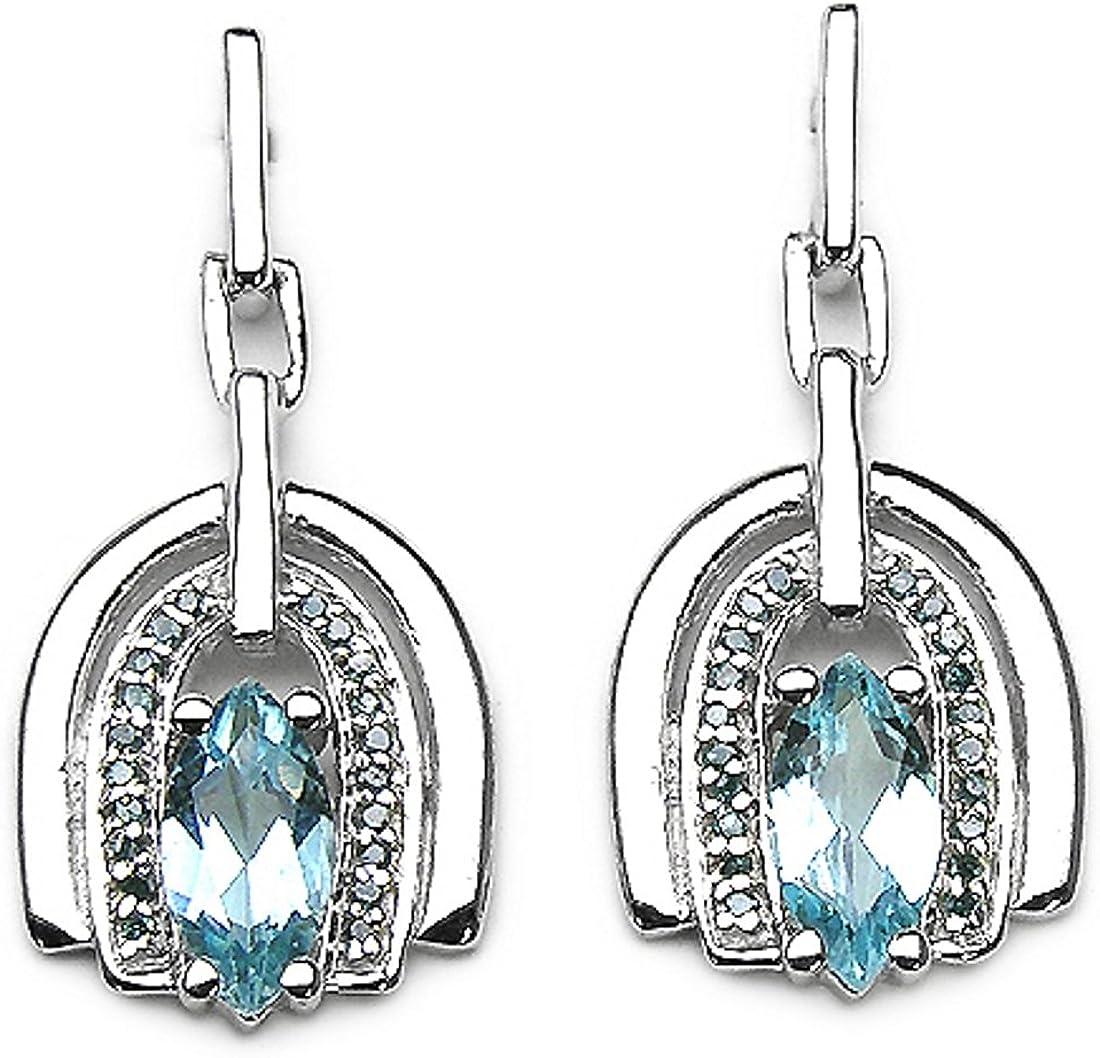 40 Rare Diamantes Diamante Azul Azul topacio Pendientes de plata-rodio-2.54 quilates