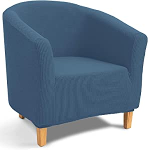 TIANSHU Jacquard Tub Chair Cover, Stretch Armchair Slipcovers, Club Chair Covers, Non-Slip Sofa Couch Cover Furniture Protector for Dining Living Room Office Reception Chair(Tub Chair, Denim Blue)