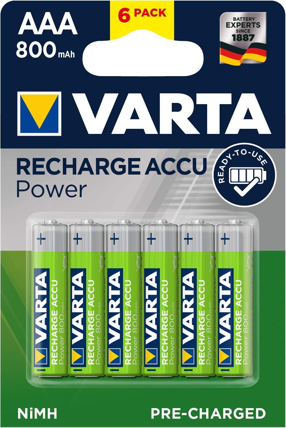 VARTA - Pack de 6 Pilas AAA Recargables (NiMH, 800 mAh, precargadas)
