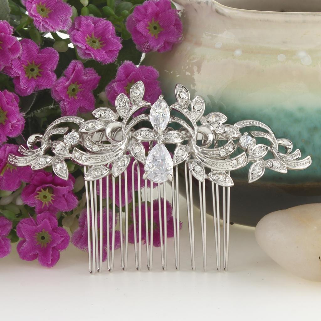 EVER FAITH Wedding Leaf Wave Hair Side Comb Clear Zircon Crystal Silver-Tone by EVER FAITH (Image #3)