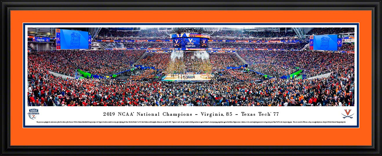 Virginia Cavaliers, 2019 NCAA Basketball Champions - Double Mat, Deluxe Framed Print by Blakeway Panoramas