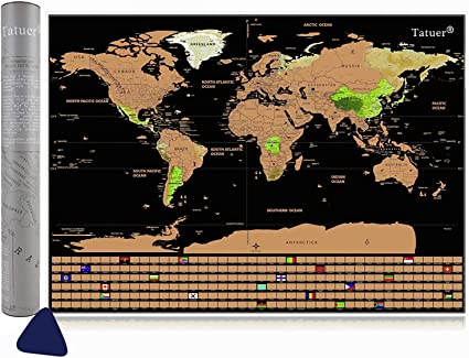 Tatuer Mapa de Scratch, Mapa Mundi Rascar Mapa del Mundo-59.5 * 42CM: Amazon.es: Oficina y papelería