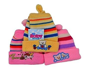 7b156ff3012 Baby Bucket Premium Quality Baby Girls   Boys Woollen Material Baby Cap Set  of 3 (