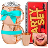 Coppermania Moscow Mule 100% Pure Copper Mugs Set Of 2 - 16 Oz Each Cup (Handcrafted, Hammered, Unlined, Solid) & 3 Exciting Party Face Mats