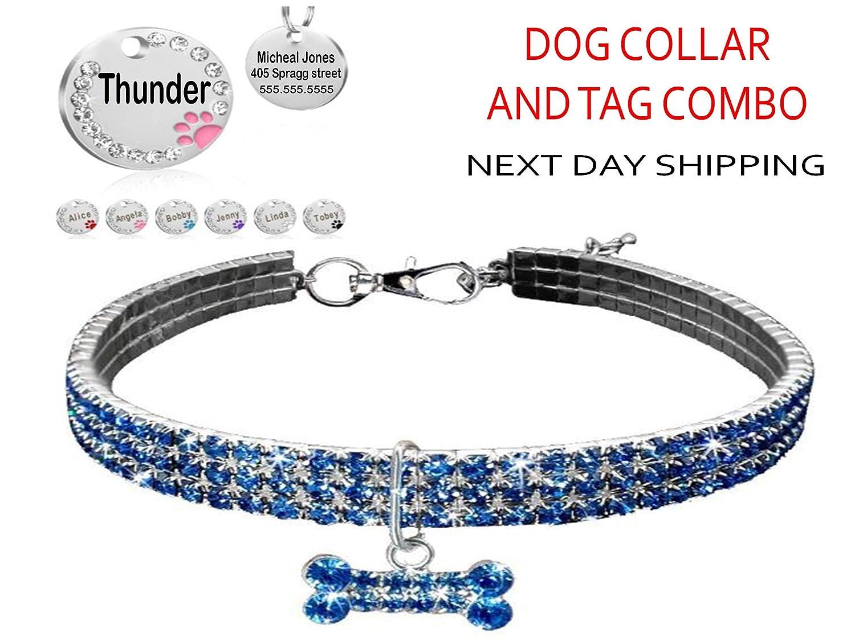 Rhinestone Dog Collar personalized custom dog id tag PIU9 Anicelook Rhinestone Rhinestone Bling high grade stainless steel