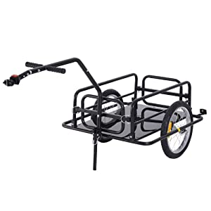 Aosom Folding Bike Cargo Trailer Cart with Seat Post Hitch- Black